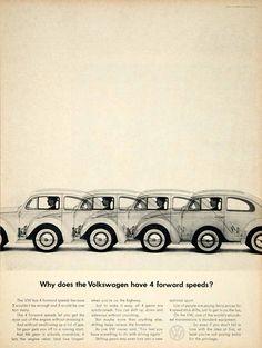 1963 Ad Vintage Volkswagen VW Bug Beetle 4 Forward Speeds Automobile Car Auto