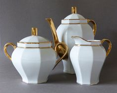 French Vintage Limoges Porcelain Coffee Set  Never by LaLoupiote