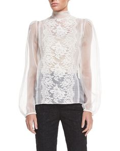 Long-Sleeve Sheer Blouse W/Lace Trim, Natural White by Dolce & Gabbana at Neiman Marcus.