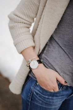 chic jeans, grey tshirt, watch