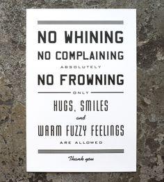 No Whining Letterpress Art Print