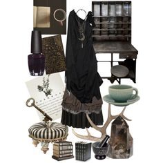 Study Strega by zitahawthorne on Polyvore featuring Vivienne Westwood Anglomania, Valentino, AllSaints, Joe Browns, OPI, MacKenzie-Childs, Jars, Decorative Leather Books, Pier 1 Imports and Antler