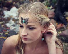 silver butterfly chain head piece