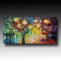 Tree Painting Original Oil on Canvas  Palette Knife by bsasik, $199.00