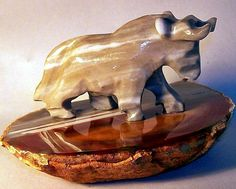 Potent Gray Onyx Bull Figurine on Thick Polished Brazilian Agate Base New enter coupon code CHRISTMAS at checkout 20% off during christmas in july  sale on agate figurines only