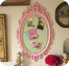 Ornate Magnetic Inspiration Memo Board Pink by ShabbyVintageMom, $89.00