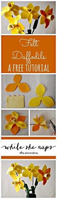 Springtime Craft Tutorial: Felt Daffodils A free pattern for felt DaffodilsA free pattern for felt Daffodils Handmade Flowers, Diy Flowers, Fabric Flowers, Paper Flowers, Felt Diy, Felt Crafts, Santa Crafts, Felt Flower Tutorial, Bow Tutorial