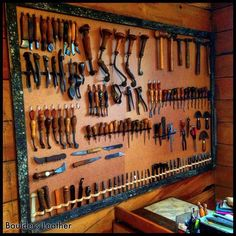 "466 Likes, 14 Comments - #leatherworkbench (@leatherworkbench) on Instagram: "" Repost from @bouldersleather -  Finally got my leatherwork tool collection up on the wall…"""