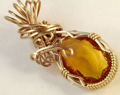 Joan - A Czech Glass Pendant, Wire Wrapped Pendant, Wire Wrapped Jewelry, Wire Wrap Pendant by WireWizardz on Etsy