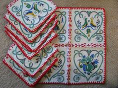 Vintage Napkins Pennsylvania Dutch Set of 7 Vintage Never by aahha, $15.00