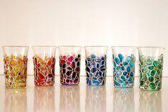 Glass Bottle Crafts, Bottle Art, Glass Bottles, Glass Vase, Faux Stained Glass, Stained Glass Designs, Glass Painting Designs, Painted Jars, Painted Wine Glasses