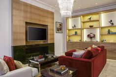 Luxury Red and Gold Living Room | JHR Interiors
