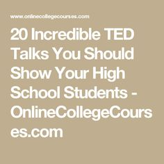 20 Incredible TED Talks You Should Show Your High School Students – OnlineColleg… – Education High School Counseling, High School Classroom, Homeschool High School, School Counselor, Science Classroom, High School Students, Career Counseling, Elementary Counseling, Elementary Schools