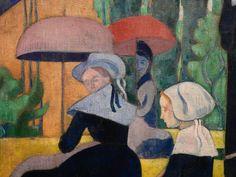 BERNARD Emile,1892 - Les Bretonnes aux Ombrelles - Detail 02 - DENIS on BERNARD artworks in 1943 : « Adresse du pinceau. Il avait, dès ses débuts, le sens de la composition et il a toujours su bien remplir sa surface. Son dessin est resté ce qu'il était, décoratif, inventé, stylisé. Il a changé de manière, mais il a toujours été un maniériste. » (DENIS, Journal, 1943)
