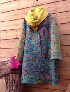 Купить Валяное пальто Mosaic - войлок ручной работы, авторская ручная работа, авторский войлок