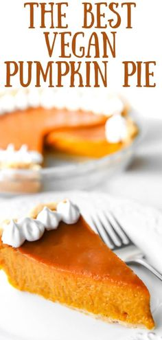 This is seriously the best vegan pumpkin pie that you will ever eat - maybe just the best ever pumpkin pie that you will eat!  Rich, creamy, full of flavor and made without cornstarch for the most authentic pumpkin pie flavor and texture.  It's dairy-free, soy-free, and easily made gluten-free too!  Check out what I use as an egg replacer!  #thehiddenveggies Vegan Pumpkin Pie, Pumpkin Pie Recipes, Gluten Free Pumpkin, Vegan Dessert Recipes, Delicious Vegan Recipes, Dairy Free Recipes, Vegetarian Recipes, Tasty, Vegan Pie Crust