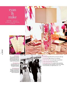 Beautiful wedding featured in The Knot Magazine Fall/Winter 2011 edition! Courtenay Lambert Florals provided the flowers for this fuchsia, white and black color palette.
