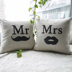 Ojia 18 X 18 Inch Cotton Linen Decorative Throw Pillow Cover Cushion Case Couple Pillow Case, Mr. And Mrs. Right Pillowcases, Set of 2 Ojia #valentinesday #valentinesdaygiftideasforcouples #valentinesdaygiftideas