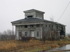 """Abandoned Homestead"" -- [A large decaying home on Route 12 near Copenhagen, Jefferson County, (upstate) New York. It is now demolished.]~[Photograph by Mark L. - December 10 2004]'h4d-299.2013'"