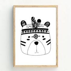 Impression de monochromes ours Tribal Print décor chambre d'enfant/chambre à coucher. IMPRESSION DE DÉTAILS- Disponible en deux tailles standard pour faciliter l'encadrement. A4 (21x29.7cm) sont imprimés sur du papier photo mat archival 250 g. Pour notre plus grand format A3