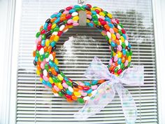 Jelly Bean Easter Wreath. Click for 40 more #DIY #Wreath Ideas
