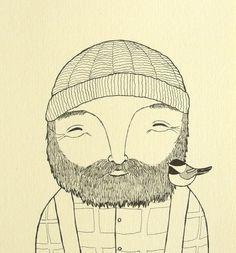 Lumberjack Chickadee Print Original Ink Drawing Black White Ivory Woodland Illustration Print 4x6 Rustic Home Wall Decor Beard Man Bird MiKa by mikaart on Etsy https://www.etsy.com/listing/195041293/lumberjack-chickadee-print-original-ink