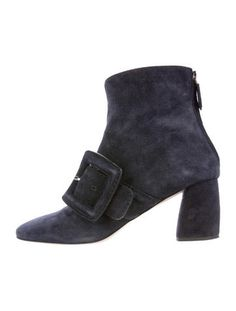 Miu Miu Suede Buckle-Accented Ankle Boots