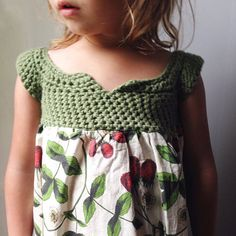 New Berry Picker Dress. Made of Cotton yarn and cotton fabric. Made to order in sizes 0-6T.