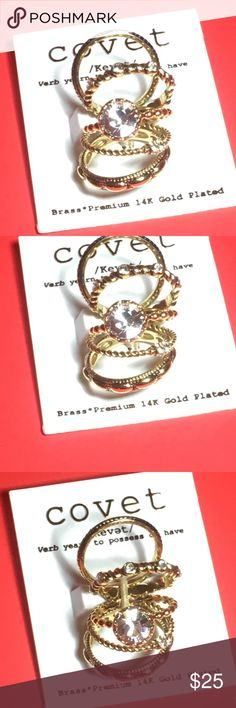 Covet Arielle Collection 14k Gold Plated Rings This is a set of 5 Covet Ariella Collection Brass 14k Gold Plated stackable rings in size 9. Brand new and never worn. Covet Jewelry Rings