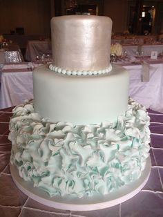 Silver and blue ruffles - Blue ruffles with a painted silver top tier