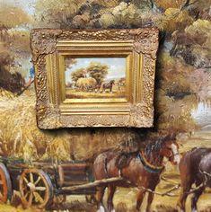 Ernteszene mit Pferden. Herrliches Ölgemälde schöne Miniaturmalerei sign. BECKER