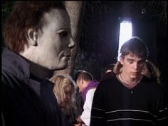 Chris Durand (Michael) with Josh Hartnet during the filming of Halloween H2O, 1998.