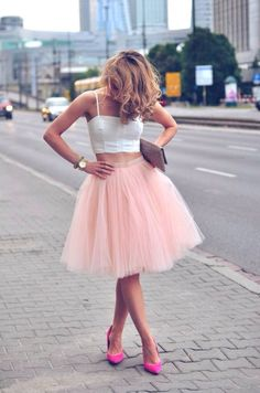Cute puffy pink skirt and top with pink heels