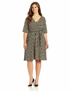 Sandra Darren Women's Plus-Size Plus Houndstooth « MyStoreHome.com – Stay At Home and Shop