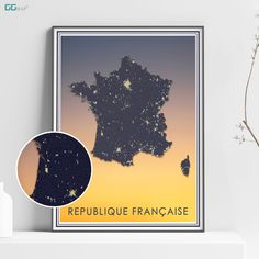 FRANCE map - France sunset map - Travel poster - Home Decor - Wall decor - Office map - France gift - GGmap - République française poster Office Wall Decor, Wall Art Decor, Map France, New York City Map, Map Shop, Country Maps, Skyline Art, Custom Map, All Poster