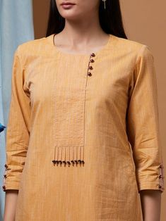 Best 12 Ladies kurta : Buy Designer Womens kurtis Online – The Loom Kurti Sleeves Design, Sleeves Designs For Dresses, Neck Designs For Suits, Kurta Neck Design, Neckline Designs, Dress Neck Designs, Blouse Designs, Sleeve Designs, Design Of Kurti
