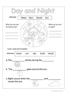 Free Science Worksheets Printable Day And Night Worksheet Free Esl Printable Worksheets Made Free Science Worksheets Printable First Grade Worksheets, Social Studies Worksheets, Science Worksheets, Science Lessons, Science Activities, Printable Worksheets, Free Printable, Calendar Worksheets, Solar System Activities