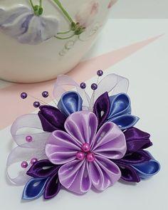 Kanzashi Flower Hair Clip or Brooch от IwoRossa на Etsy