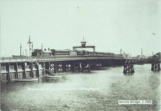 Postcard of a train crossing the Jervois Bridge, Port Adelaide 1904