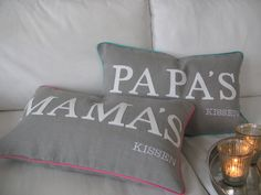 """Kissen - Kissen """"PAPA'S oder MAMA'S Kissen"""" personalisiert - ein Designerstück von EigentumderKoenigin bei DaWanda Etsy, Throw Pillows, Round Round, Cushion, Cushions, Decorative Pillows, Decor Pillows, Pillows, Scatter Cushions"""