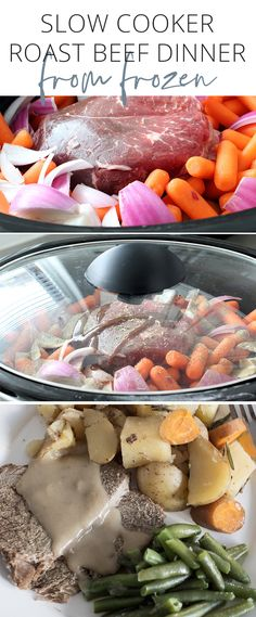 Roast beef is a classic filling nutritious supper. This slow cooker roast beef dinner recipe is extra simple because the roast is cooked in the slower cooker from frozen! Roast Beef Dinner, Slow Cooker Roast Beef, Beef Recipes For Dinner, Slower Cooker, Cooking A Roast, Cooking Wine, Slow Cooking, Cooking Recipes, Healthy Recipes On A Budget