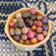 Aafa - 50 Old Hand - Made Clay Marbles - -. Photos and Information in AncientPoint Old Hands, Marbles, Glass Jars, Art History, Clay, Fruit, Primitives, Handmade, Lost