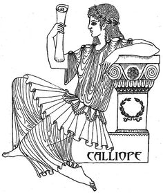 "# Calliope the ""Fair Voiced"" and the eldest Muse, is the muse of Epic Poetry and the Legends of Heroes and is seen holding a writing tablet in hand, sometimes seen with a roll of paper or a book, and crowned in gold. Art by Katlyn Ancient Myths, Ancient Greek Art, Ancient Greece, Greek Mythology Tattoos, The Legend Of Heroes, Roman Sculpture, New Gods, Muse Art, Musa"