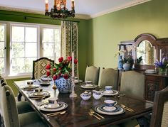 Tuscan design – Mediterranean Home Decor Green Kitchen Curtains, Sage Green Kitchen, Pantone Greenery, Green Paint Colors, Mediterranean Home Decor, Green Rooms, Contemporary Furniture, House Colors, Buffet