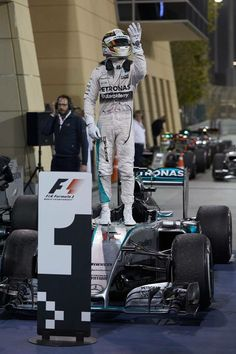 Lewis Hamilton on the Top Step at the 2015 Bahrain Grand Prix