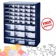 Plastic-Blue-39-Multi-drawer-Organizer-Parts-See-through-Cabinet-Wall-Top-Bench