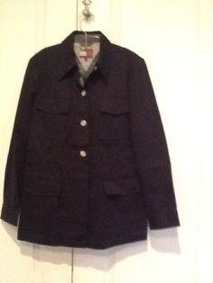 Womens Tommy Hilfiger Navy Blue Jacket 100% Cotton Basic Size 12, 4 pocket #TommyHilfiger #BasicJacket