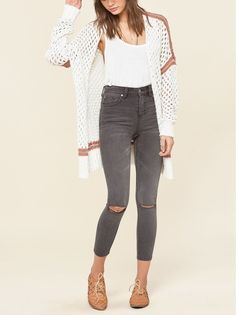 Faded varsity stripes pattern the shoulders and hem of this casual-cool cardigan knit with fuzzy openwork stitches that playfully mimic mesh.