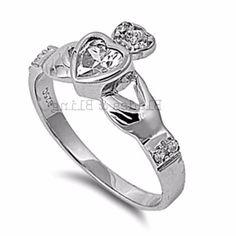 .925 Sterling Silver Ring CZ Claddagh Midi Heart Bridal Size 6 Ladies New r77 #Unbranded #Claddagh
