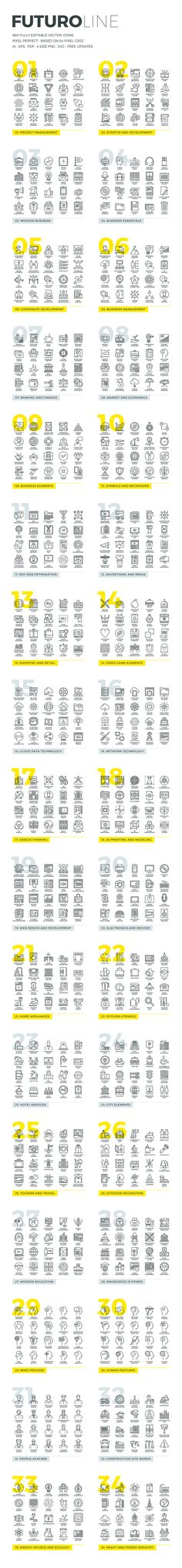 Futuro Line Icons by Bloomua on Creative Market